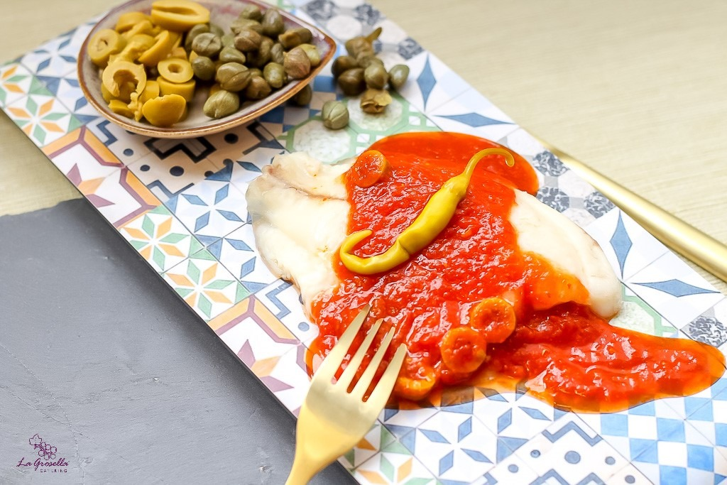 Palometa con salsa veracruzana