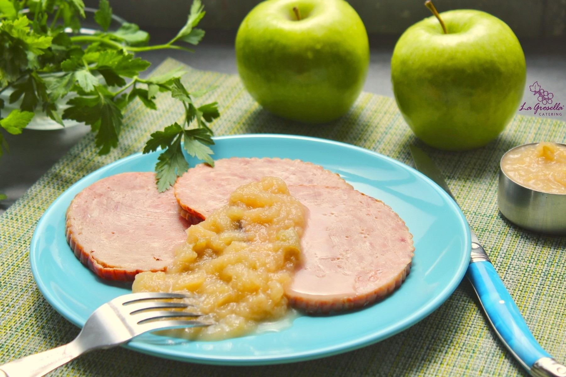 Rotí de pavo con puré de manzanas