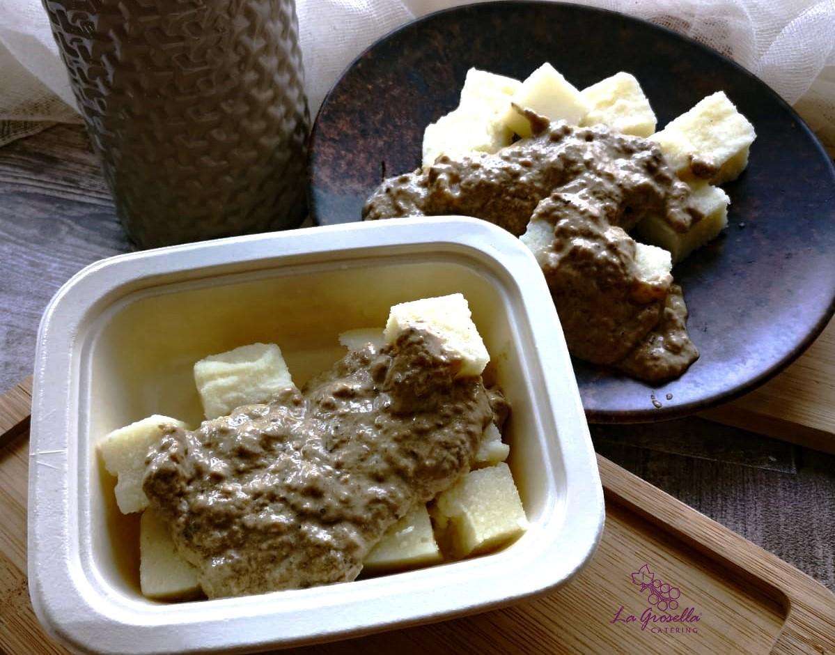 Polenta de sémola de trigo con salsa cremosa de boletus