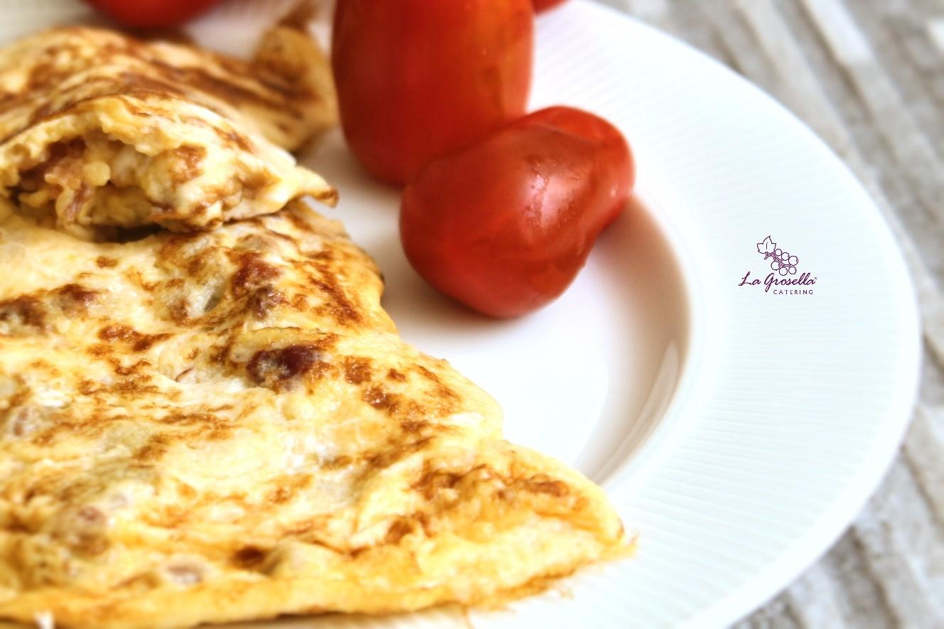 Tortilla Francesa con picadillo de jamón