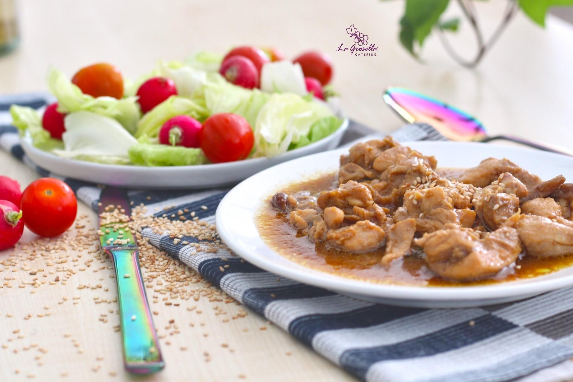 Ragú de pollo con setas y soja